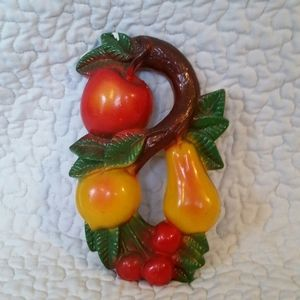 Vintage Chalkware Painted Wall Hanging Fruit Kitch